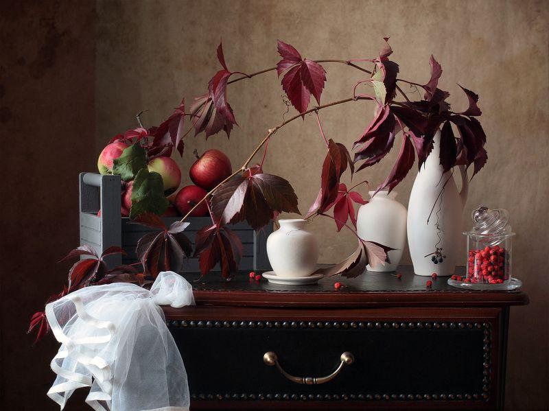 миламиронова, фотонатюрморт, осень, яблоки, плющ, рябина, настроение С яблоками и рябиной...photo preview