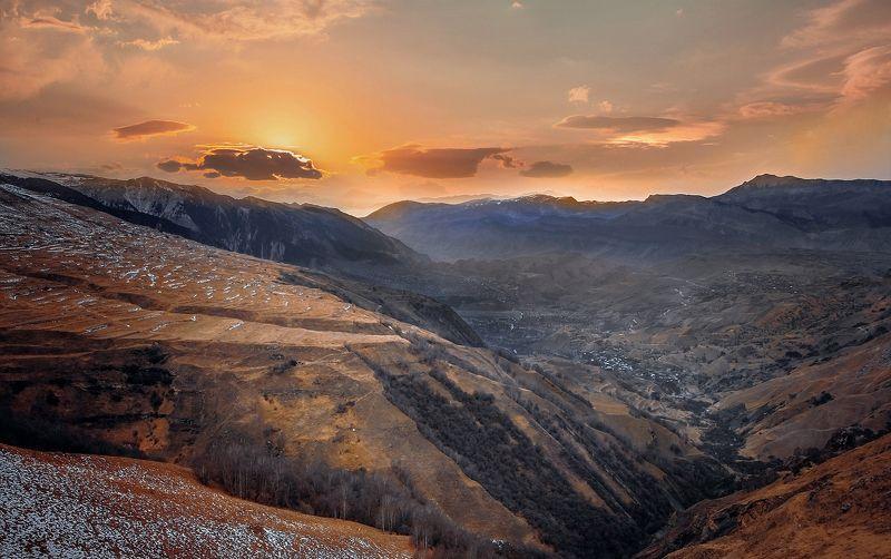 закат,вечер,горы,вершины,пейзаж,небо,деревья,дагестан,природа Вечерний пейзаж..photo preview