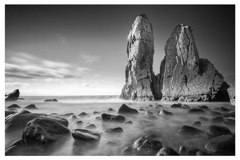 Portugal ocean long exposure rocks black&white cabo roca Lourical Beach photo preview