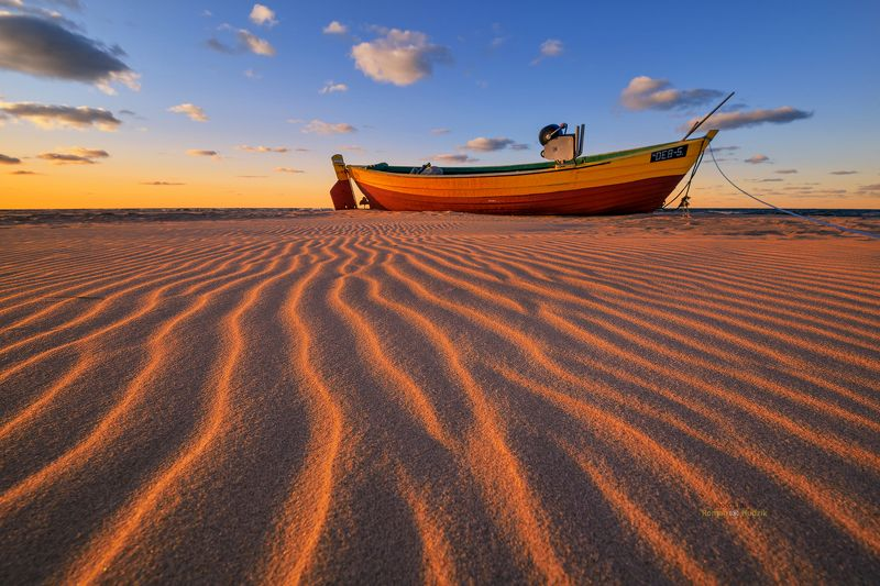 Baltic Sea, sunset, sea, beach, sand, sky, clouds, boat, landscape By the Baltic Seaphoto preview
