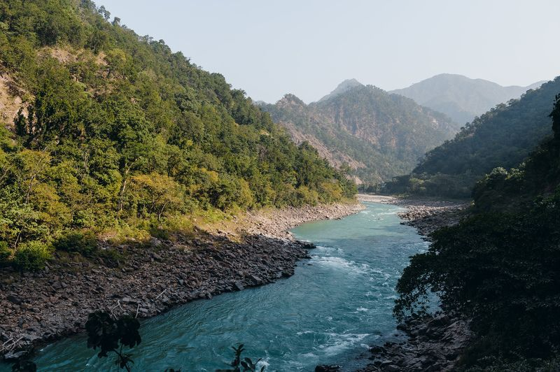 landscape India river Gang mountains Ganga the riverphoto preview