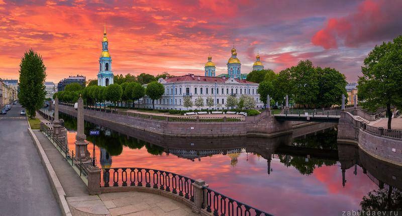 россия, петербург, лето, дрон, рассвет Никольский соборphoto preview