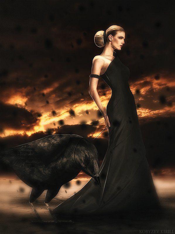 Ворон, Ворона, Девушка, Дождь, Коллаж, Модель, Фотошоп, Чёрное платье Воронphoto preview