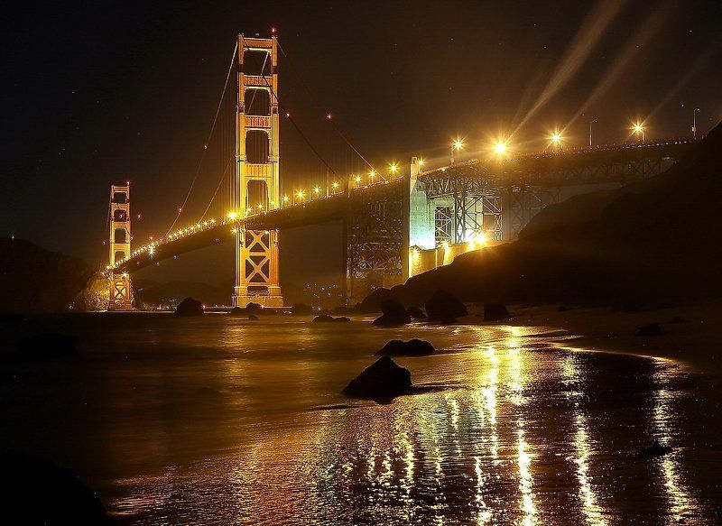 golden, gate, bridge, at, night photo preview