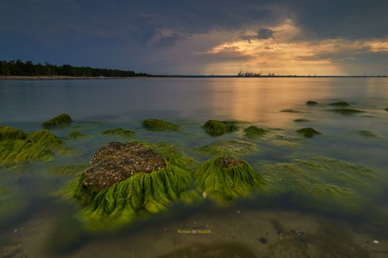 poland, sea, stones, sunset, landscape, port, Górki Zachodniephoto preview