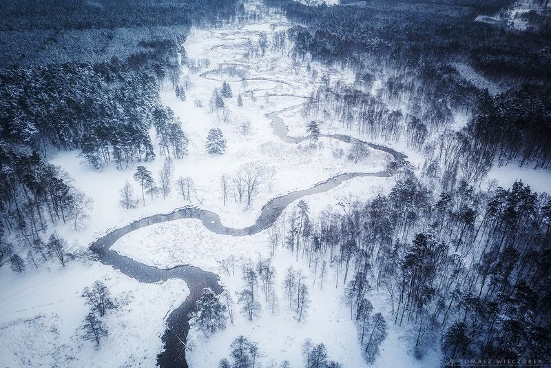 drone, poland, morning, sunrise, sunset, awesome, adventure, amazing, air, winter, mavic, dji, landscape, countryside, forest, trees, river, above, snake, ice, snow Winter\'s snakephoto preview
