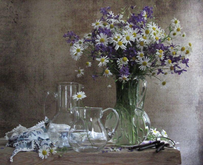 цветы, букет, ромашки, аквилегия, кувшины, стекло, шарф С полевыми ромашкамиphoto preview