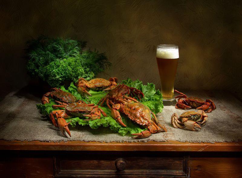 натюрморт, краб, крабы, пиво, зелень К праздничному столу:) фото превью