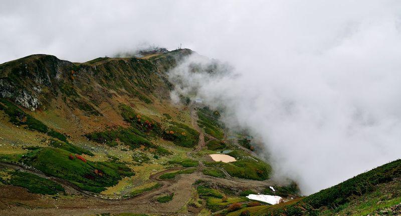 Горы, Красная поляна, Облака, Осень, Пейзаж, Природа, Сочи В облакахphoto preview
