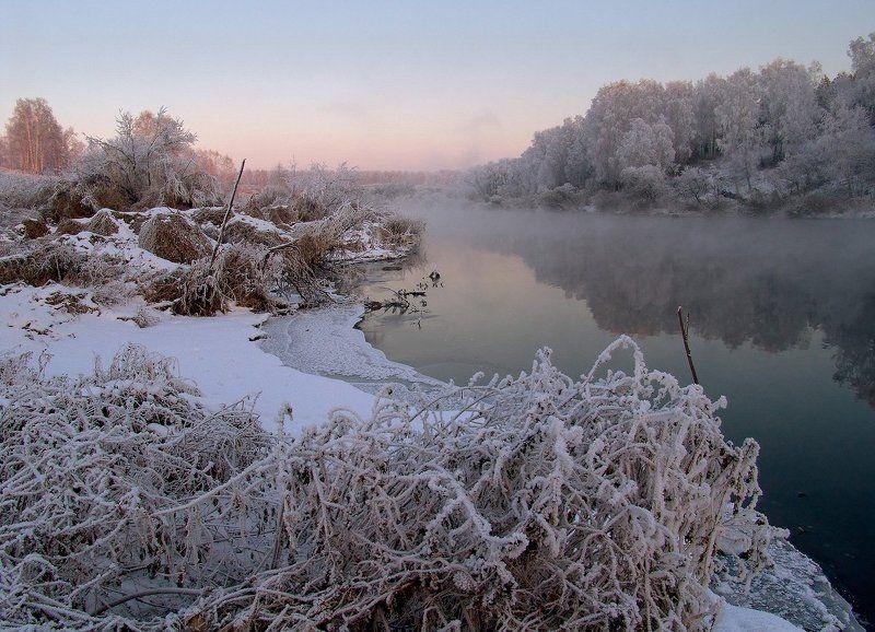 закат, зима, река, снег, туман Сказки туманной рекиphoto preview