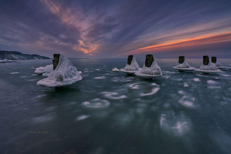 gdynia, poland, landscape, sea, winter, sunset, snow, water, ice, sky Gdynia - Babie Doły.photo preview