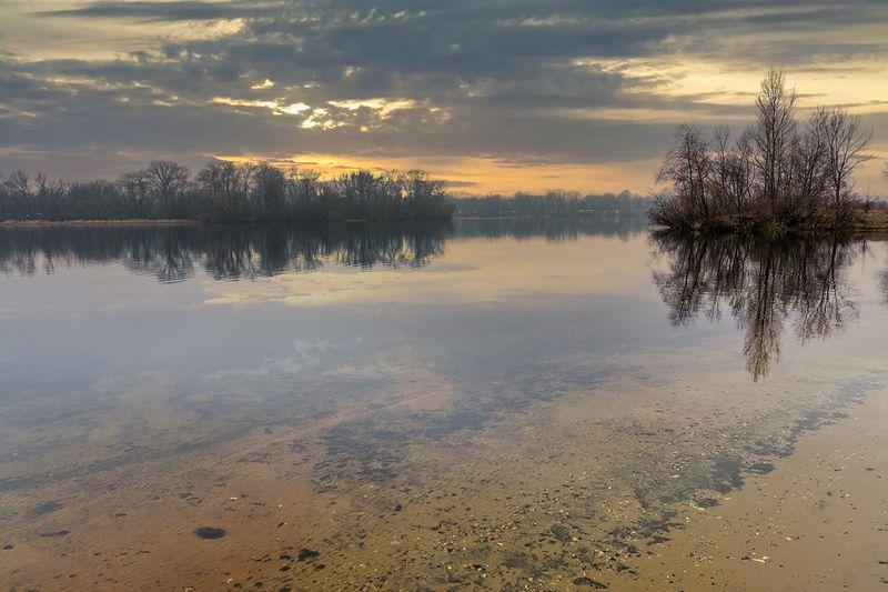 landscape, пейзаж, утро, лес,  деревья, река, берег, восход, закат, у рекиphoto preview