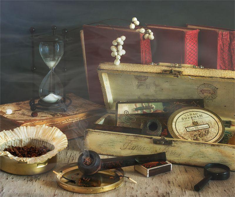still life, натюрморт,    винтаж,   ретро, табак, трубка, дым, шкатулка, минздрав предупреждает...photo preview