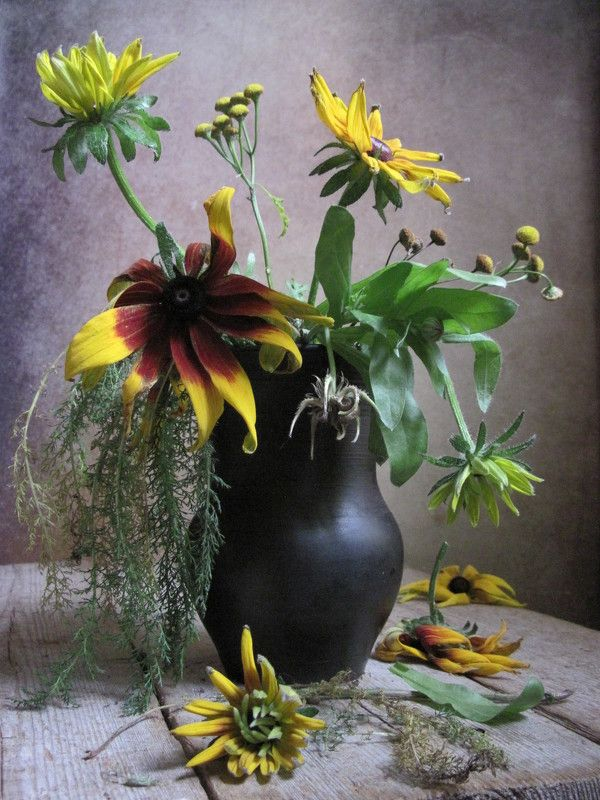 цветы, букет, рудбекия, кувшин С рудбекиейphoto preview