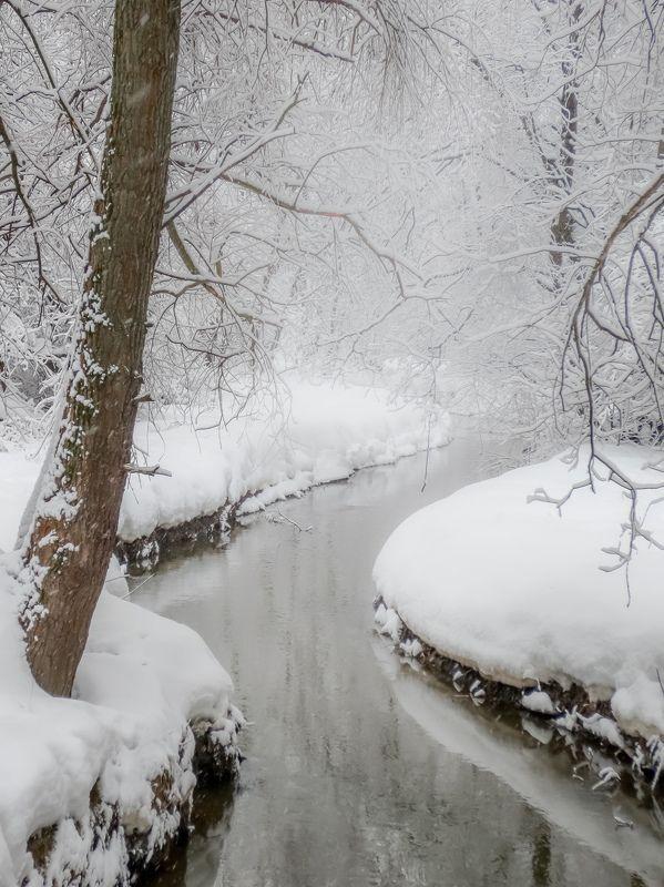зима, winter, снег, snow, природа, nature, пейзаж, ручей ***photo preview