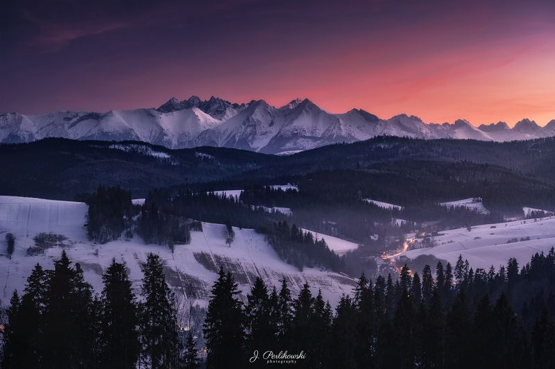 mountains, sunset, panorama Winter panoramaphoto preview