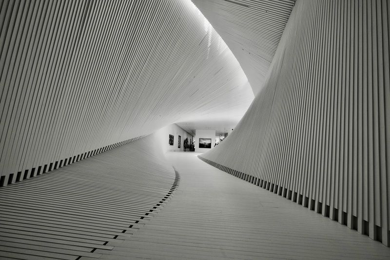 City/Architecture, Black & White, art, architecture, Norway, The Twist gallery, modern architecture, lines, light, tunnel, geometry,  Мост-музей \