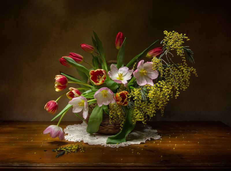 натюрморт, мимоза, тюльпаны Весны в душе!photo preview