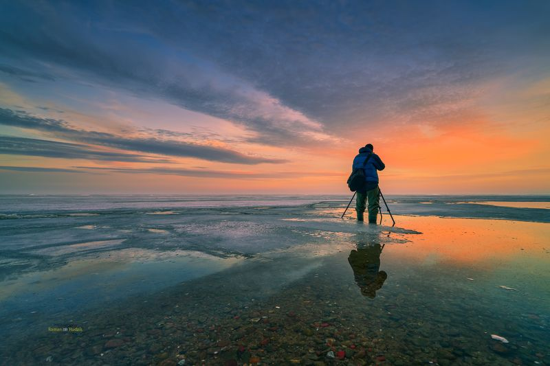 photographer, landscape, sunset, sunrise, sea, clouds, winter, water, sky Photographerphoto preview