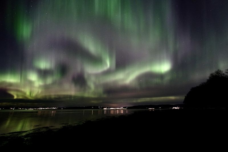 Night, Northern Lights, Aurora Borealis, nature, Norway, fjord, Trondheimsfjorden, landscape, water, colors, reflection, stars,  Весна на небесахphoto preview