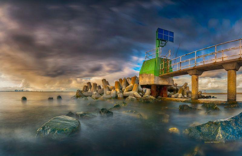 Baltic, Poland, landscape, sunset, sea, stones, clouds, Balticphoto preview