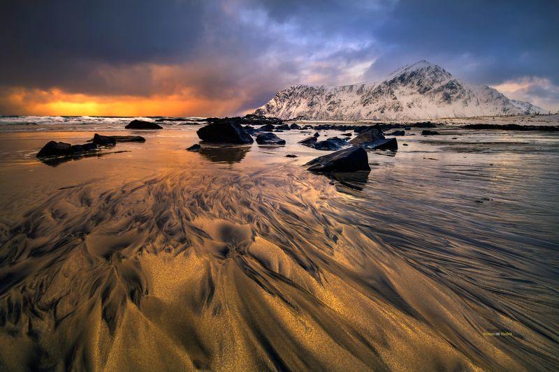 lofoten, landscape, sunrise, sunset, clouds, norway, sea Gold in Lofoten.photo preview