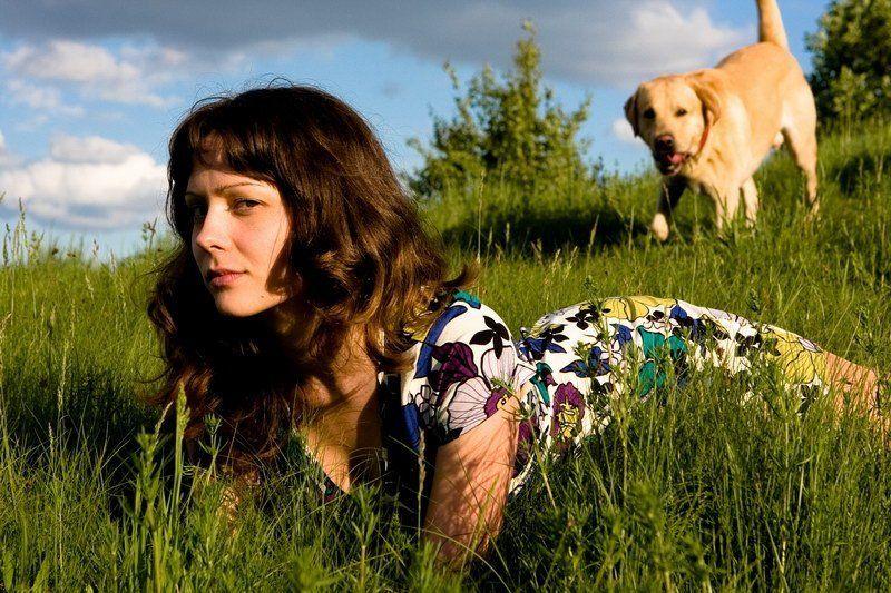 девушка, собака, репортаж, портрет, животные ***photo preview