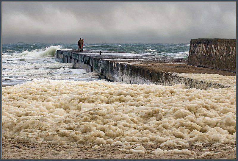 море, пирс, штом, пена, запенилось море, lad_i_mir photo preview