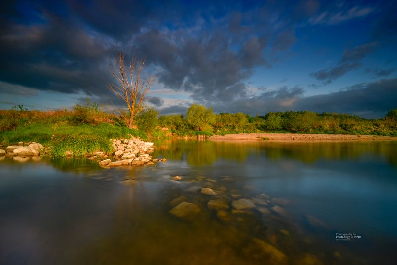 river, Kociewie, Poland, landscape, clouds sunrise, stones, sunset, water, On the river.photo preview