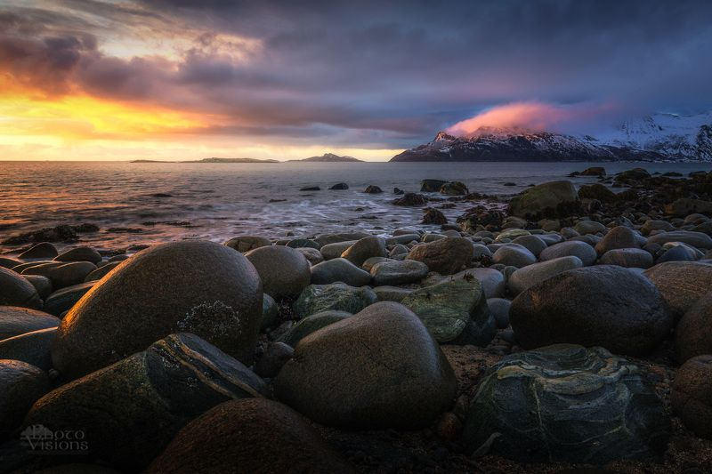 sunset,sky,clouds,colours,northern sea, norway,tromvik,north,winter, Sunset over Northern Seaphoto preview