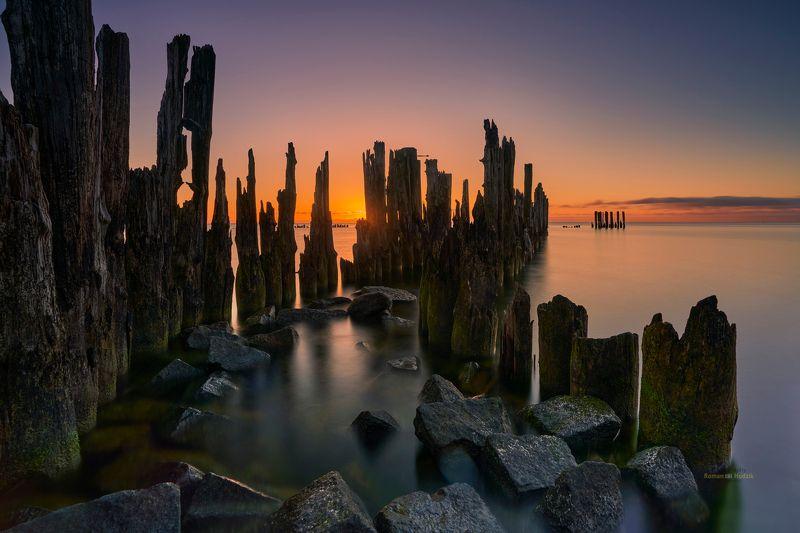 Palisade, sunrise, sea, landscape, stones, water, long exposure, Palisade.photo preview