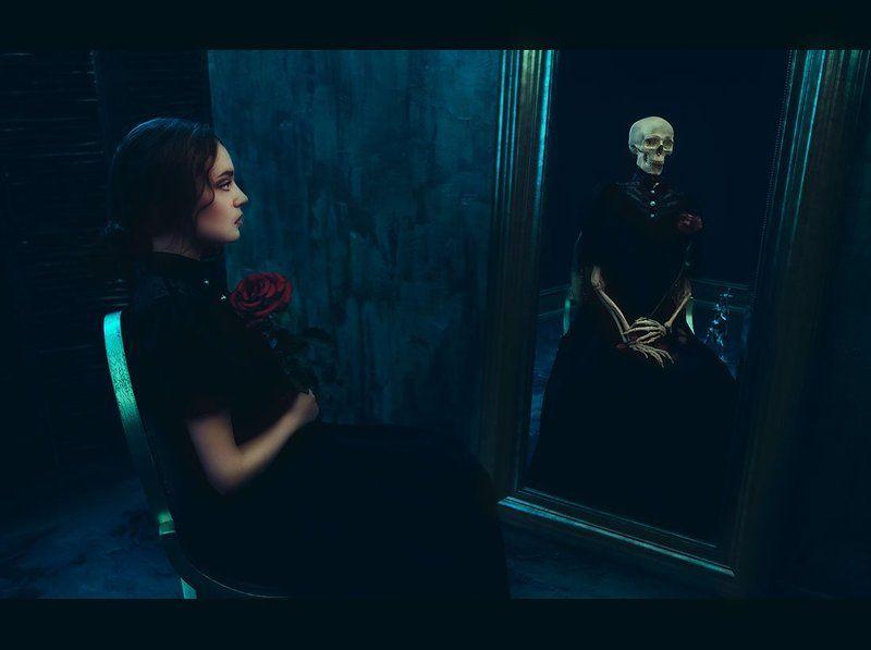 Атмосфера, Девушка, Портрет, Портрет девушки, Психологический портрет, Скелет, Студия, Цветок Lady D.G.photo preview