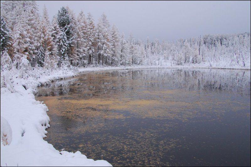 Озеро, Октябрь, Саяны Снежнаяphoto preview