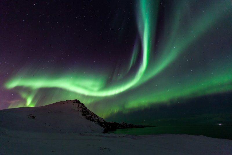 северное сияние, наука, астрономия, пейзаж, ландшафт, небо, звезды, океан, отражение, арктика, исландия, ночь, лунный свет, геомагнитные, зеленые, волшебство, свет, свечение, зима, новый год, север По следам небесных волнphoto preview