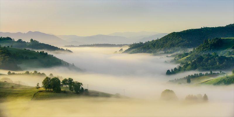 Clouds, Fog, Landscape, Nature, River, Romania, Sunrise, Transilvania Unreal Morningphoto preview