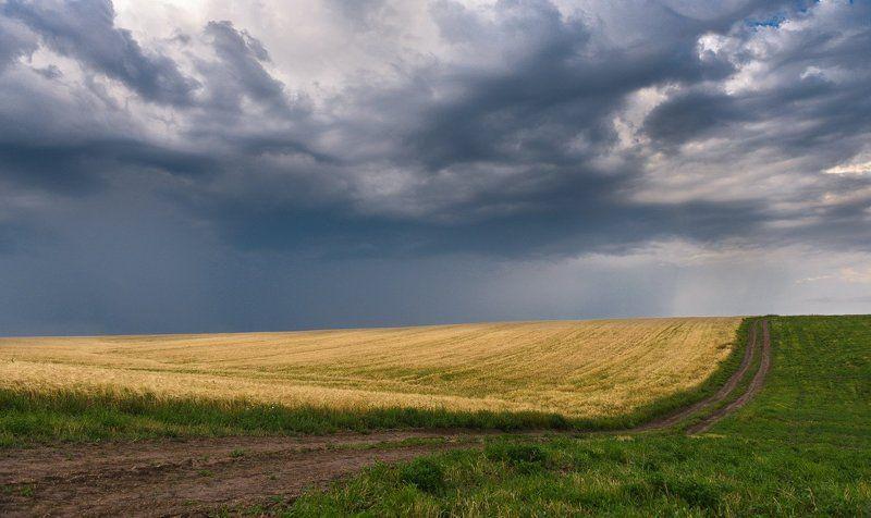Дорога, Небо, Облака, Пейзаж, Поле, Природа Формы бесконечностиphoto preview
