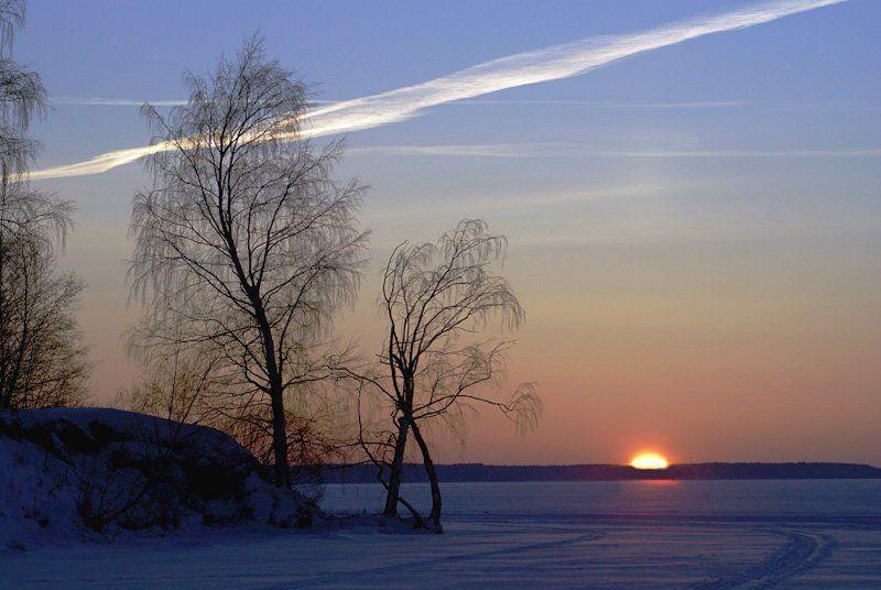 небо, закат Воздушноснежные дорогиphoto preview