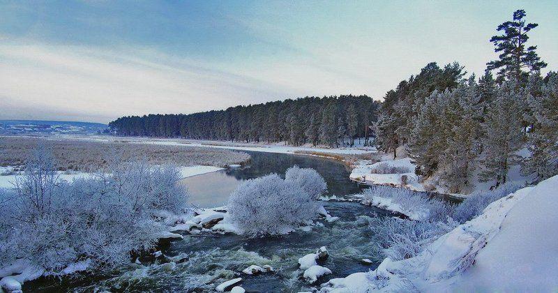 зима, природа, панорама, пейзаж, лес, река, иней Зимнее утроphoto preview