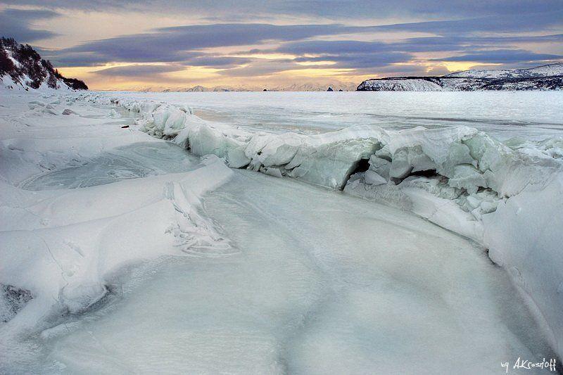 пейзаж, магадан, охотское, море, зима, лёд \