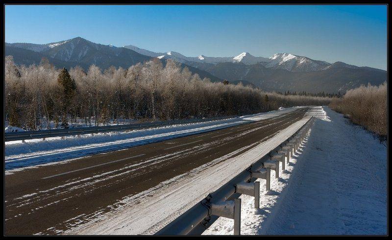 зима, дорога, горы Зовут дорогиphoto preview
