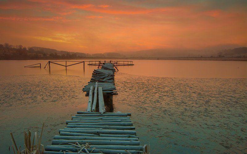 sunrise, fog, morning, wood, bridge, sky Morning Beautyphoto preview