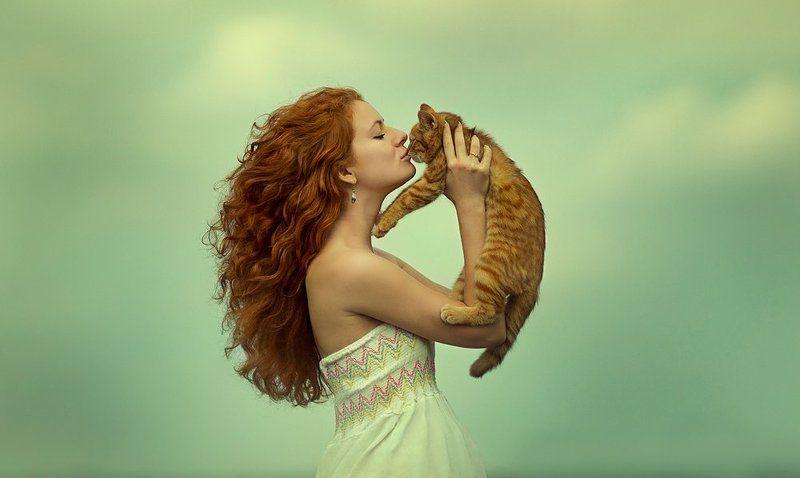 девушка, кот, нежность, поцелуй, рыжая, рыжий, счастье Рыжее счастьеphoto preview