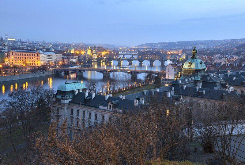Bridge, Dusk, Prague, Vltava, Влтава, Европа, Мост, Прага, Сумерки, Чехия Bridgesphoto preview