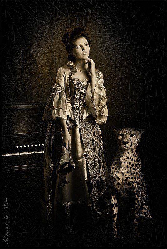 музыка, воспоминание о музыке, графиня, кнежна, княгиня, старинный костюм, старинное платье, прошлый век, портрет, леопард, клавесин мимолетное воспоминание о музыкеphoto preview