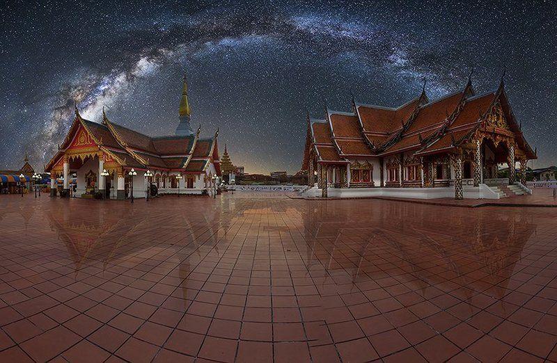 Hilight, Milkyway, Sakonnakhon, Shadow, Stars, Temple, Thailand Prasart ChearngchumSakonnakhonphoto preview