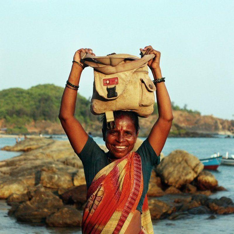 берег, вода, индия, море, портрет, сумка, Улыбка ***photo preview