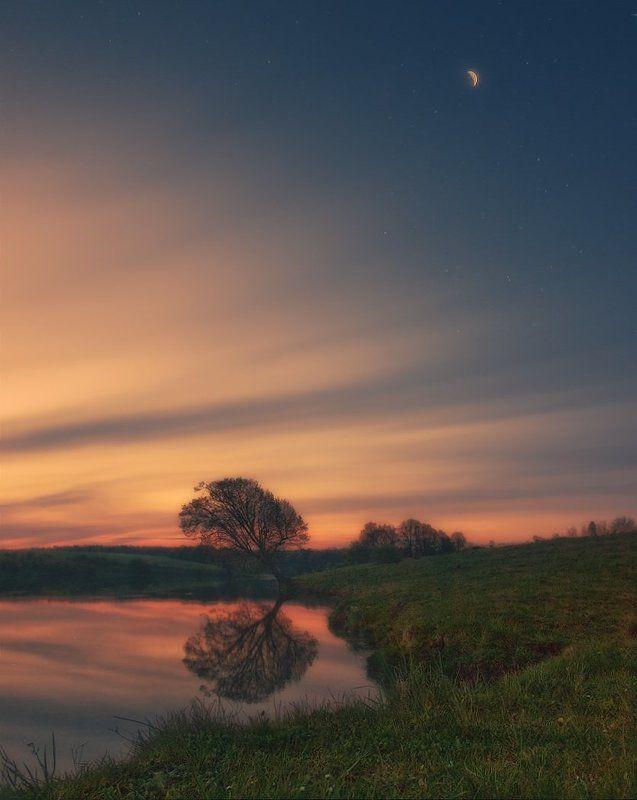 рассвет, луна Прелюдия к рассветуphoto preview