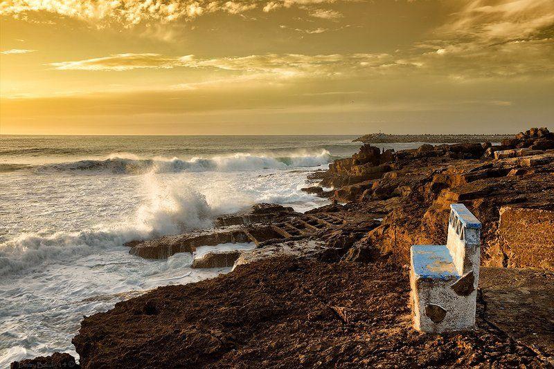 Скамья на берегу океанаphoto preview