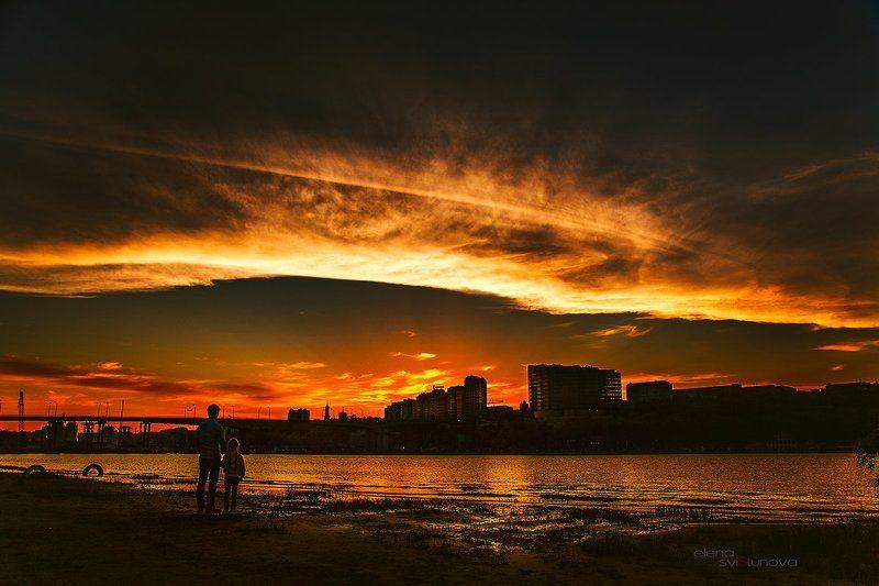 Город, Городской пейзаж, Закат, Небо, Река Правый берег Донаphoto preview