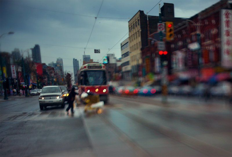 Rain, Yellow cart, Red tramphoto preview